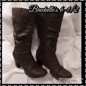 Breckelles Brown Faux Leather Boots 6-1/2